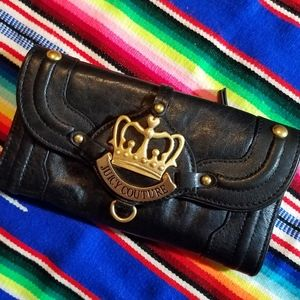Juicy Couture Black Leather Wallet with Crown